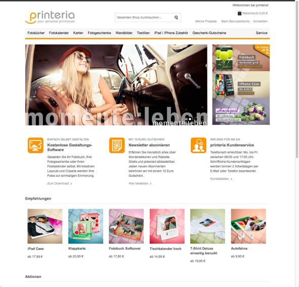 printeria Website Angebot