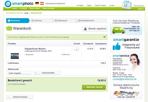 smartphoto Bestellung Warenkorb
