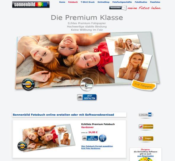 Sonnenbild Website Fotobuch