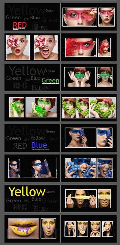 Testverfahren Fotobuchberater Buchlayout 4 Grundfarben